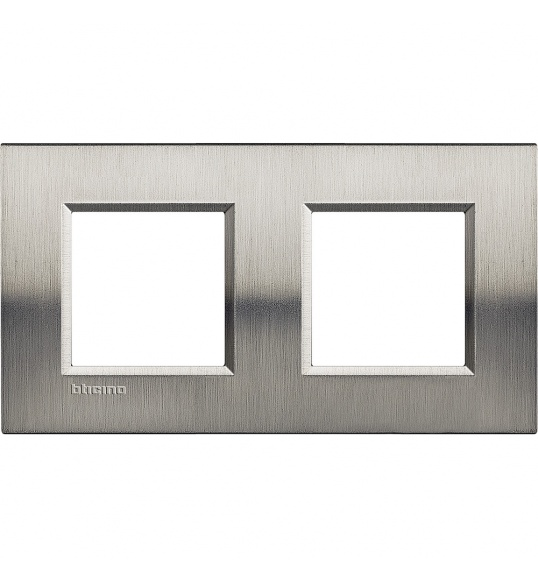 LNA4802M2ACS Cover plate 2+2 M Bright Steel Living Light Bticino