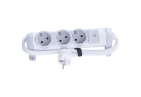 694621 Multi-outlet extension for comfort - 3x2P+E orientable - 1.5 m cord