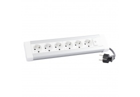 653561 Desktop multi-outlet extension 6 x 2P+E + illuminated switch