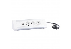 653562 Desktop multi-outlet extension 3 x 2P+E + double USB charger